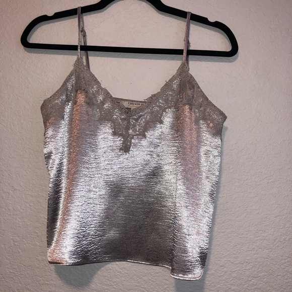 Shimmery and lace tank